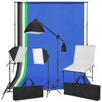 vidaXL Fotografická štúdiová súprava s foto stolom, svetlami a farebnými pozadiami