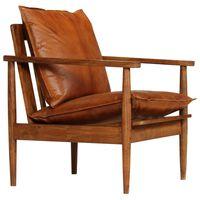vidaXL Kreslo, hnedé, pravá koža s akáciovým drevom