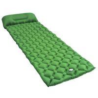 vidaXL Nafukovací matrac s vankúšom zelený 58x190 cm