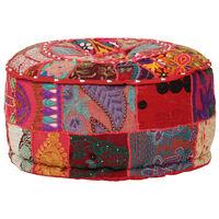 vidaXL Patchwork taburetka z bavlny okrúhla 40x20 cm červená