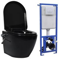 vidaXL Závesné bezokrajové WC so skrytou nádržkou čierne keramické
