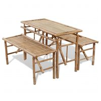 vidaXL Pivný stôl s 2 lavicami 100 cm bambusový
