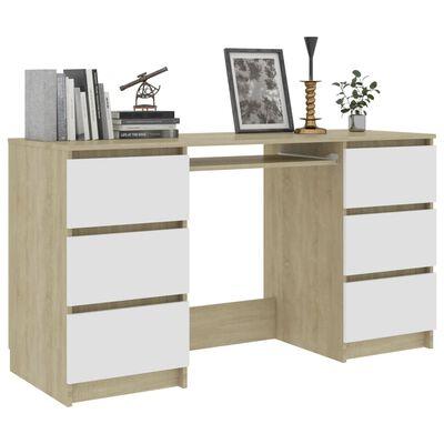 vidaXL Písací stôl, biely a dub sonoma 140x50x77 cm, drevotrieska
