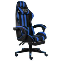 vidaXL Herná stolička s opierkou na nohy čierna a modrá umelá koža