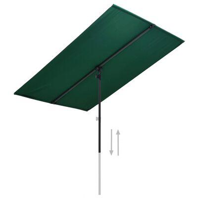 vidaXL Vonkajší slnečník s hliníkovou tyčou 180x130 cm, zelený