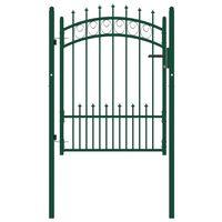 vidaXL Plotová brána s hrotmi oceľová 100x125 cm zelená