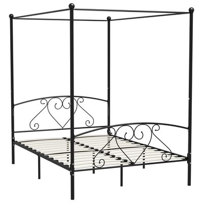 vidaXL Posteľný rám s baldachýnom, čierny, kov 160x200 cm