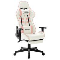 vidaXL Herná stolička bielo-ružová umelá koža