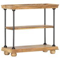 vidaXL Knižnica s 2 policami 80x35x75 cm masívne mangovníkové drevo a oceľ