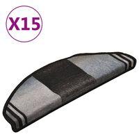 vidaXL Samolepiace nášľapy na schody 15 ks, čierno sivé 65x21x4 cm