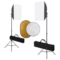 vidaXL Fotografické vybavenie so softboxami a reflektorom