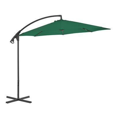 vidaXL Závesný slnečník s oceľovou tyčou 300 cm zelený