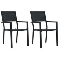vidaXL Záhradné stoličky 2 ks, čierne, HDPE, drevený vzhľad