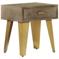 vidaXL Nočný stolík 45x35x48 cm masívne mangovníkové drevo a liatina