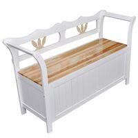 vidaXL Drevená lavica s úložným priestorom, biela 126 x 42 x 75 cm