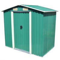 vidaXL Záhradná kôlňa, zelená, kov 204x132x186 cm