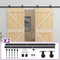 vidaXL Posuvné dvere s kovaním 80x210 cm, borovicový masív