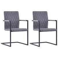 vidaXL Jedálenské stoličky, perová kostra 2 ks, tmavosivé, umelá koža