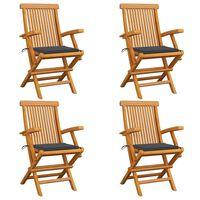 vidaXL Záhradné stoličky, antracitové podložky 4 ks, tíkový masív