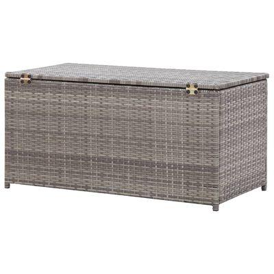 vidaXL Záhradný úložný box sivý 100x50x50 cm polyratanový