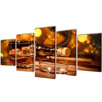 Sada obrazov na stenu, motív Whiskey a cigara 200 x 100 cm