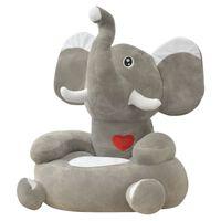 vidaXL Detské šedé plyšové kreslo, slon