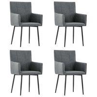 vidaXL Jedálenské stoličky s opierkami 4 ks, tmavosivé, látka