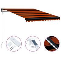 vidaXL Zaťahovacia markíza so senzorom vetra a LED 350x250 cm oranžovo-hnedá