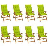 vidaXL Sklápacie záhradné stoličky s podložkami 8 ks tíkový masív