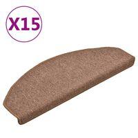vidaXL Kobercové nášľapy na schody 15 ks hnedé 65x24x4 cm