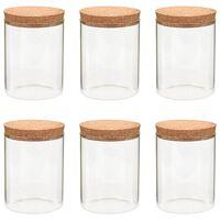 vidaXL Skladovacie sklenené poháre s korkovými viečkami 6 ks 650 ml