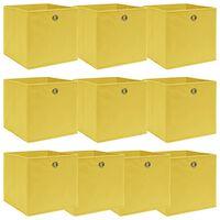 vidaXL Úložné boxy 10 ks žlté 32x32x32 cm látkové
