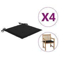 vidaXL Podložky na záhradné stoličky 4 ks čierne 50x50x4 cm látka