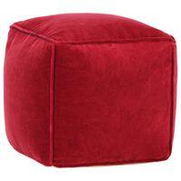 vidaXL Taburetka bavlnený zamat 40x40x40 cm rubínovo-červená