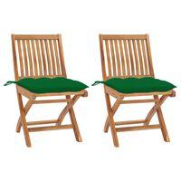 vidaXL Záhradné stoličky 2 ks, zelené podložky, tíkový masív