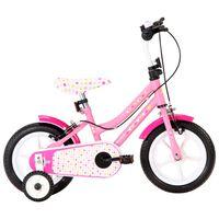 vidaXL Detský bicykel 12 palcový biely a ružový
