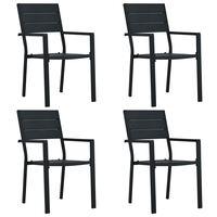 vidaXL Záhradné stoličky 4 ks čierne HDPE drevený vzhľad