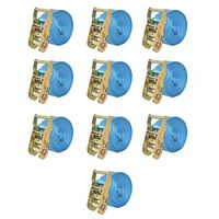 vidaXL Upínacie popruhy s račňou 10 ks, 2 tony, 6mx38mm, modré