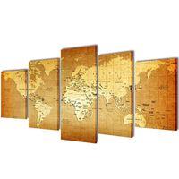 Sada obrazov na stenu s potlačou mapy sveta 200 x 100 cm