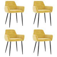 vidaXL Jedálenské stoličky 4 ks horčicovožlté zamat