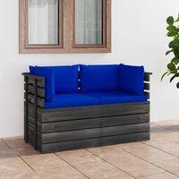 vidaXL 2-miestna záhradná pohovka z paliet s podložkami borovicové drevo