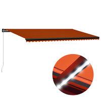 vidaXL Ručne zaťahovacia markíza s LED 600x300 cm oranžovo-hnedá