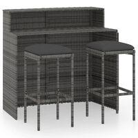 vidaXL 3-dielna záhradná barová súprava s vankúšmi sivá