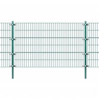 vidaXL Plotový panel so stĺpikmi, práškované železo 6x1,2 m, zelený