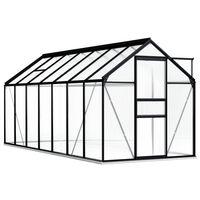 vidaXL Hliníkový skleník s podkladovým rámom, antracitový 8,17 m²