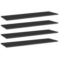 vidaXL Prídavné police 4 ks, lesklé čierne 100x30x1,5 cm, drevotrieska