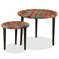 vidaXL Konferenčné stolíky s chindi prepletanými detailmi 2ks viacfarebné