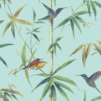Noordwand Tapeta Kolibri and Bamboo, tyrkysová
