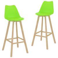 vidaXL Barové stoličky 2 ks zelené umelá koža