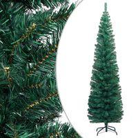 vidaXL Úzky umelý vianočný stromček s podstavcom, zelený 210 cm, PVC